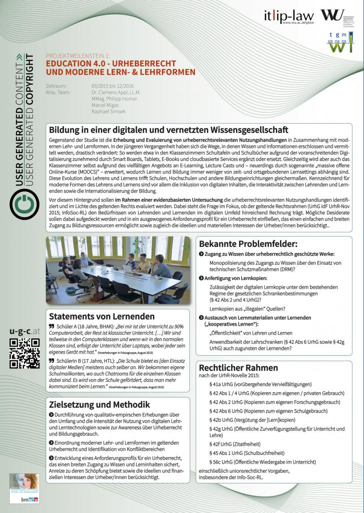 APPL, Clemens / HOMAR, Philipp / MIGAS, Marcel / SIMSEK, Raphael: EDUCATION 4.0 - Urheberrecht und moderne Lehr- & Lernformen, IP-DAY 29.9.2015, Wien (Österreich).
